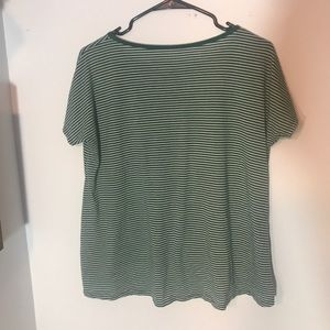 VOLCOM green and white striped T-shirt